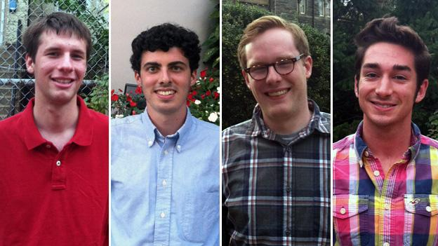 Four of the nine college students running for ANC (from left): Patrick Kennedy and Jackson Carnes from GWU, and Peter Prindiville and Craig Cassey of Georgetown.