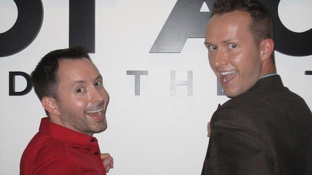 Chris Doucette (L) and Zach Toczynski (R) co-host Gaylarious at Riot Act Comedy Theater once a month.