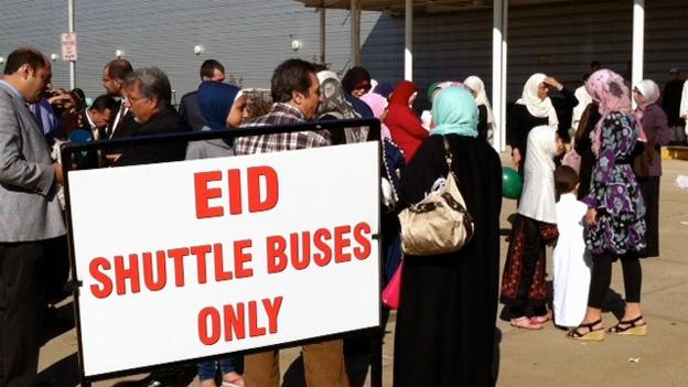 Crowds gathered outside the Discovery Center in Boyds, Md., for the Eid ul-Adha holiday.