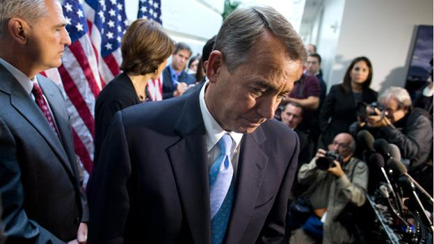 Speaker of the House Rep. John Boehner, R-Ohio, walks away from the microphone during a news conference after a House GOP meeting on Capitol Hill on Tuesday, Oct. 15, 2013 in Washington.