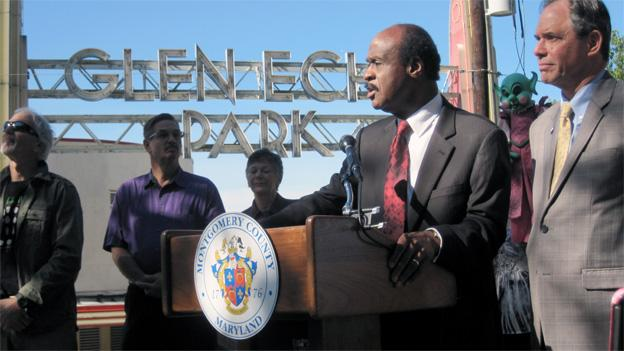 Montgomery County executive Isiah Leggett and Councilman Roger Berliner speak outside of Glen Echo Park.