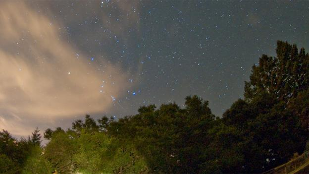 A faint streak can be observed below Orion's Belt in this photo from of the Orionids from 2009.