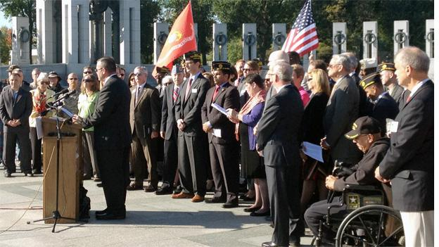 Representatives from 33 leading veterans and uniformed service organizations rallied at the World War II Memorial Tuesday morning.