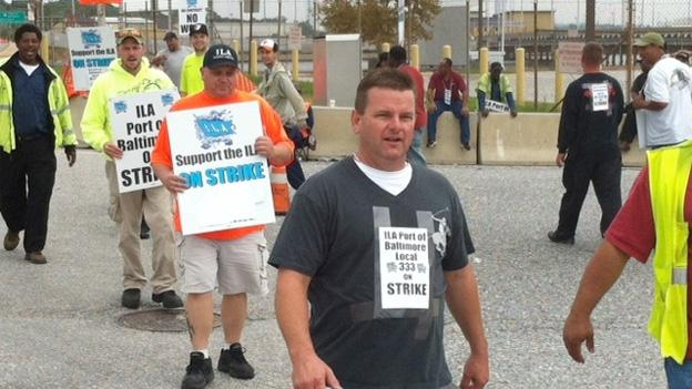 Members of the Local 333 walk the picket line at Baltimore harbor.