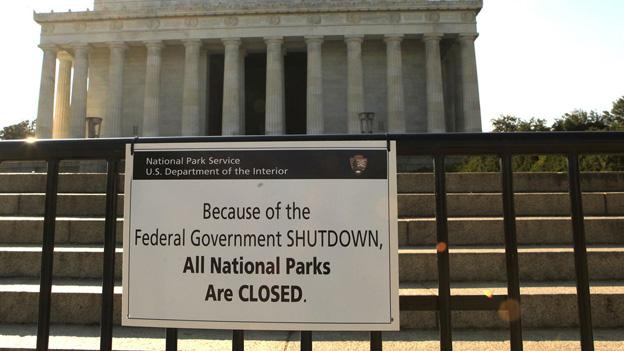 "A sign reading ""Because of the Federal Government SHUTDOWN All National Parks are Closed"" is posted on a barricade in front of the Lincoln Memorial in Washington, Tuesday, Oct. 1."
