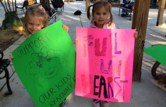 Hearst Elementary students turned up with their parents at a public meeting October 16 to urge the District to fully fund a renovation of the school.