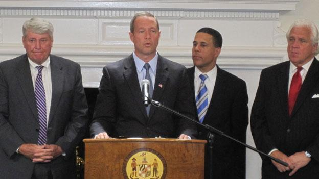 Maryland Gov. Martin O'Malley speaks Monday at the state house.  Behind him, left to right, is Speaker of the Maryland House of Delegates Michael Busch, Lieutenant Gov. Anthony Brown, and State Senate president Mike Miller.