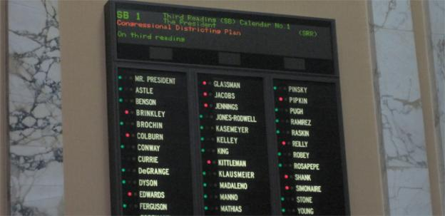 The vote board at the Maryland state senate shows a resounding victory for the redistricting plan, as was expected.