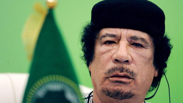 A file photo of Libyan leader Moammar Gadhafi from the Africa-EU Summit in Tripoli in November of 2010.