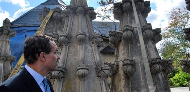 Washington D.C. Mayor Vincent Gray checks out sections of the pinnacles from National Cathedral that were damaged and later removed after the 5.8 magnitude earthquake.