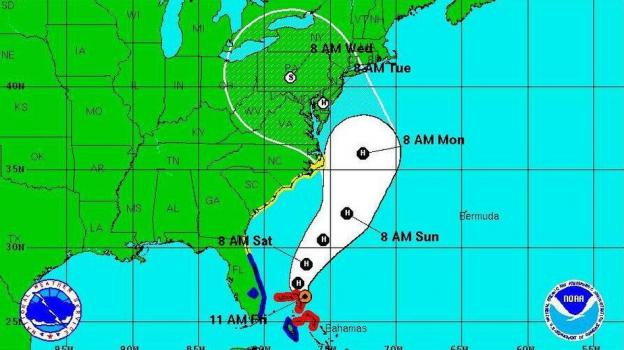 "The National Hurricane Center's ""5-day forecast cone"" as of 11 a.m. ET today (Oct. 26)."