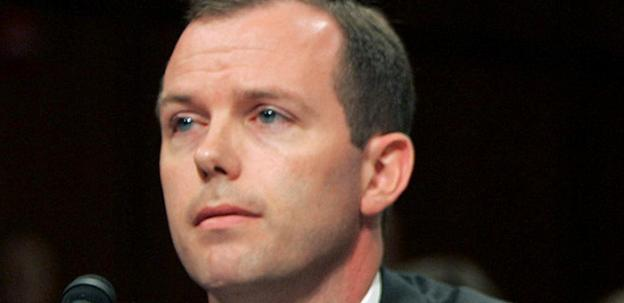 In this June 22, 2005, file photo, Kevin Ring testifies on Capitol Hill in Washington. Former lobbyist Ring is scheduled for sentencing Wednesday, Oct. 26, 2011, on a jury's finding that he was guilty of bribing public officials with meals and event tickets. Prosecutors are requesting he get more than four years of imprisonment, which would give him one of the stiffest sentences in the far-reaching investigation. Only the ringleader, Jack Abramoff, got a harsher penalty, with a six-year sentence.