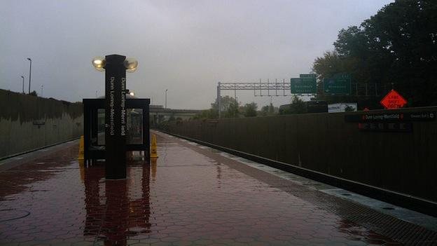 A wet platform at the Dunn Loring-Merrifield Metro station in Virginia.