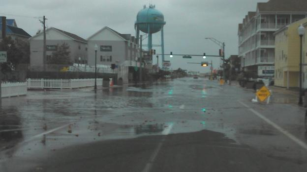 Heavy rain in downtown Ocean City Sunday morning, Oct. 28, 2012.