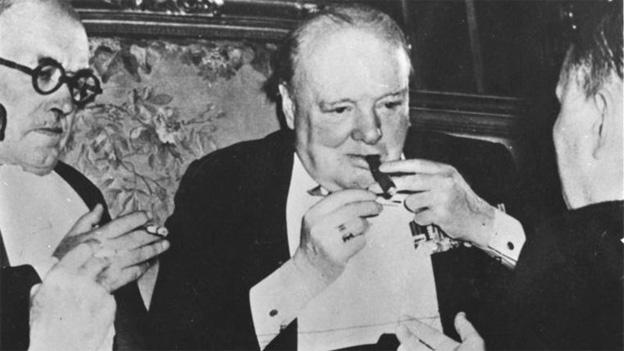 Winston Churchill at the Potsdam Conference in the summer of 1945.
