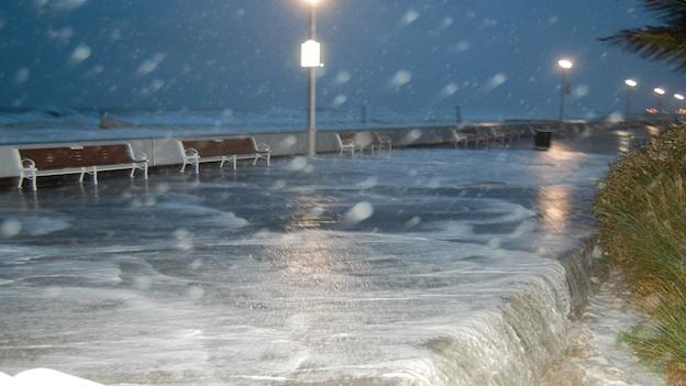 Hurricane Sandy flooded the boardwalk in Ocean City, Md.