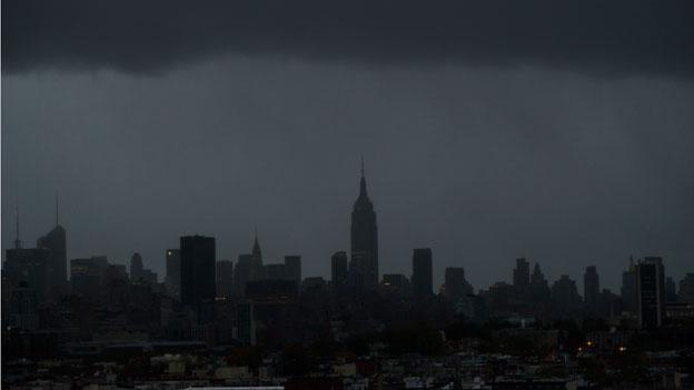 The Empire State Building and large portions of midtown Manhattan are seen without power as a result of Hurricane Sandy on Tuesday, Oct. 30, 2012 in New York.