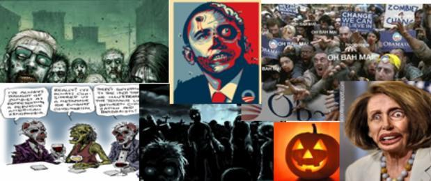 A Halloween-themed graphic depicting President Obama as a zombie with a bullet in his head, was sent out by the Loudoun County Republican Committee on Monday, drawing sharp criticism.