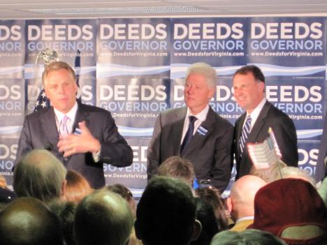 In an effort to rally Democratic voters before the big race, the Deeds campaign brought in former President Bill Clinton and former Democratic National Chairman Terry McAuliffe to speak to Deeds supporters today. McAulliffe was defeated by Deeds in the party's June 9th primary.