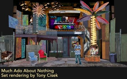 "Tony Cisek's set rendering for ""Much Ado About Nothing."""