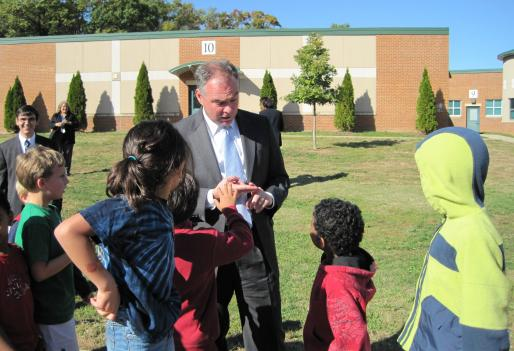 Virginia Governor Tim Kaine fields some tough questions from elementary students at Claremont Immersion School in Arlington, Va. Kaine was at the school to praise its nutrition and physical activity programs.
