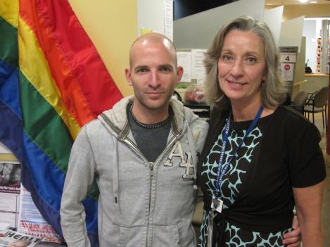 Local LGBT Activist Matt Bamford (left) poses Alexandria Public Health Nurse Supervisor Debby Dimon.