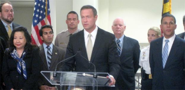 Maryland governor Martin O'Malley speaks at an event announcing a $2M grant to combat domestic violence.