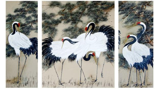 """Longevity"" is just one of local artist Jing-Jy Chen's Oriental brush paintings that are currently on display at Artists' Gallery."