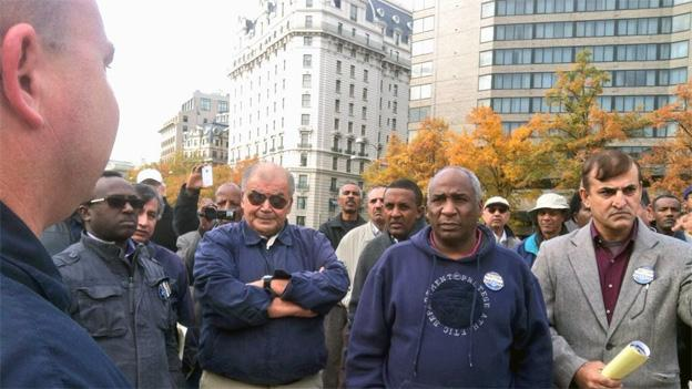 Cabbies gather in Freedom Plaza to demand a meeting with Mayor Vincent Gray.