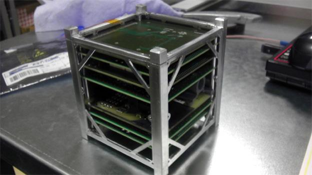 A nanosatellite on the CubeSat standard measures just 10 centimeters to a side.