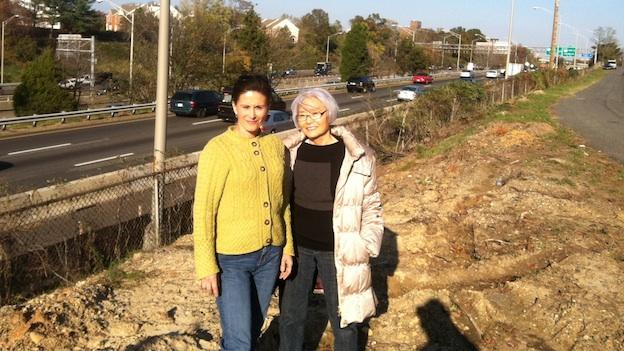 Mary Hasty, left, and Sue Okubo near the I-395 highway in their Overlook neighborhood. The two women are leading a charge against a planned ramp from the new I-95 express lanes.