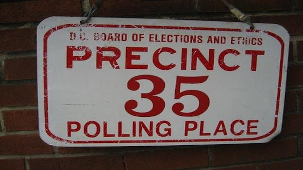 A polling location at 1640 Columbia Road, NW, Washington, D.C.