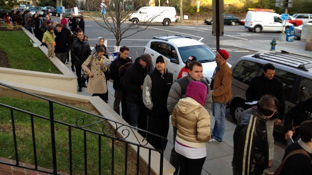 Long line at Latino American Youth Center in Columbia Heights, D.C.