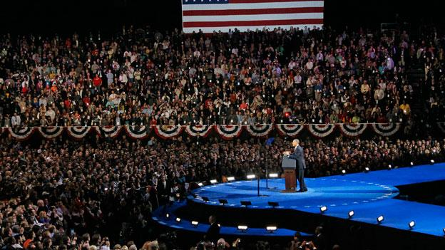 President Barack Obama addresses supporters at his election night party Wednesday, Nov. 7, 2012, in Chicago.