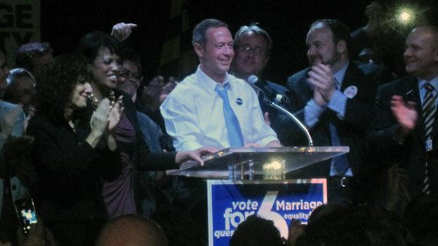Gov. Martin O'Malley celebrates with Maryland same-sex marriage supporters at a rally on election night.