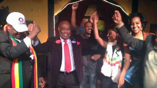 Democrat Mayor Bill Euille participates in an Ethiopian ceremony celebrating Democrats' victory in Alexandria on election night.