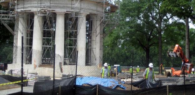 The D.C. War Memorial is located on the National Mall, in a grove of trees between the WWII and Korean War memorials. Restoration completed only recently.