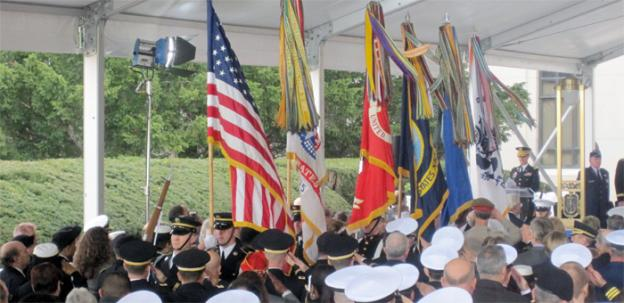 A color guard opens the ceremonial opening of the new Walter Reed National Military Medical Center in Bethesda.