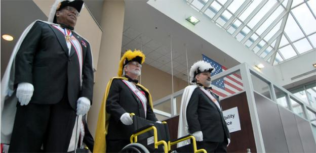 Knights of Columbus donate dozens of wheelchairs to the Washington D.C. Veterans Affairs Medical Center.
