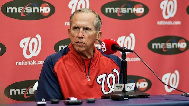 Nationals' Davey Johnson talks at a press event in May 2012.