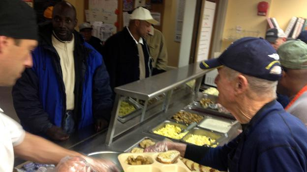 Many veterans continued their service to country and community on Monday, volunteering at Miriam's Kitchen.
