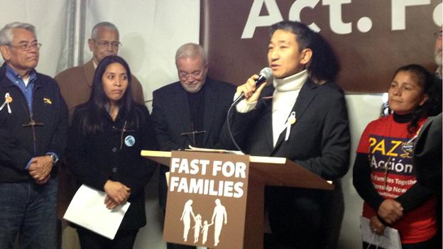 Organizers announced the Fast for Families in their white tent on the National Mall Tuesday.