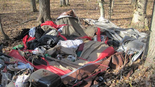 The woods near Ocean City, Md., have seen an increasing number of homeless people camped out.