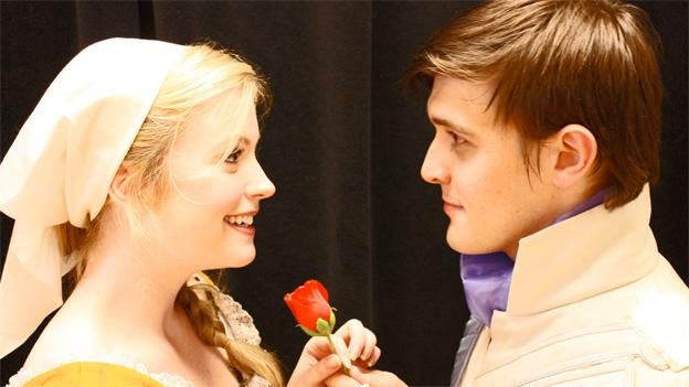 Jessica Lauren Ball (Cinderella) and Matt Kacergis (the Prince) bring the classic fairytale to life at Olney Theatre Center.