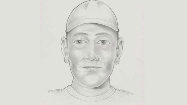 A composite drawing based on the witness description. It is not a known suspect photograph and is presented to aide investigators in identifying the perpetrator in this crime.