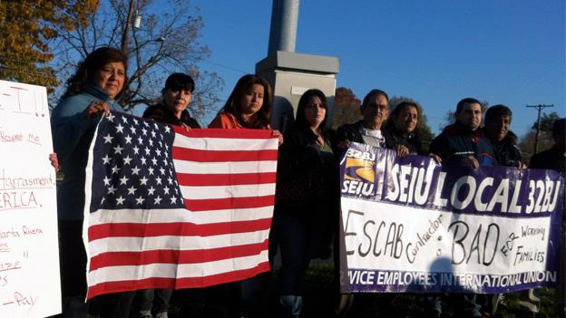Members of the local union representing janitors at the Walter Reed hospital protest the contractor Escab.