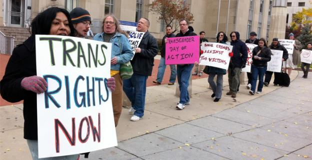 Activists protested Thursday against what they describe as inadequate police response to crimes against the transgender community.