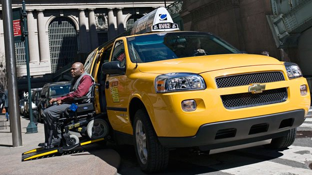Wheelchair-accessible taxis like this one shown in New York City are hard to come by in D.C.