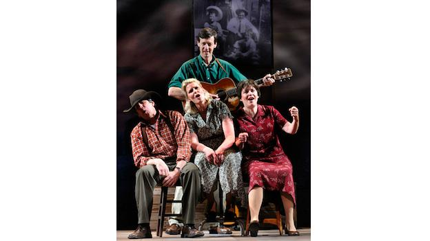 "Andy Teirstein, Helen Russell, Darcie Deaville and David Lutken in ""Woody Sez."""