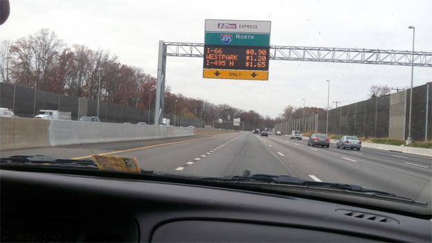 Skidmarks are visible on the road where drivers try to avoid paying for the new 495 HOT lanes.
